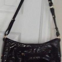 Brahmin Black Patent Croc Medium Purse Handbag Organizer Nwot Photo