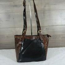 Brahmin Brown Black Leather Croc Embossed Shoulder Bag Tote Handbag Purse  Photo