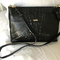 Brahmin Convertible Crossbody Clutch All Day Croc Embossed Leather Bag Black Photo
