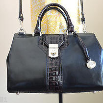 Brahmin Courtney Black Tuscan Luxe Smooth & Croc Leather Hand Shoulder Bag Nwt  Photo
