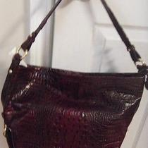 Brahmin Cranberry Croc Leather Shoulder Bag Tote W/brass Trim Nwot Inc. Dust Bag Photo