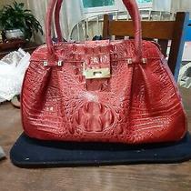 Brahmin Croc Embossed Leather Handbag Red Vintage Photo