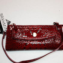 Brahmin Croc Embossed Leather Rory Lacquer Red Glossy Melbourne  F56547lr Clutch Photo