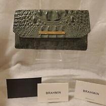 Brahmin Croc Jasper Green Leather Wallet  Photo