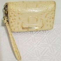 Brahmin Debra Beige Gold Melbourne Leather Croc Embossed Wristlet Clutch Wallet Photo
