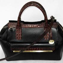 Brahmin Elegant Black Tuscan Brown Moc Croc Satchel Shoulder Bag Nwt 325 Photo
