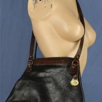 Brahmin Handbag Purse Black Brown Leather Croc Embossed Tuscan Collection  Photo