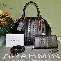 Brahmin Hudson Black Tuscan Leather & Pecan Satchel & Matching Suri Wallet Set Photo