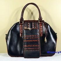 Brahmin Hudson Leather Satchel & Suri Zip Around Wallet (Black Tuscan Vineyard) Photo
