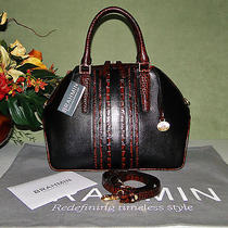 Brahmin Hudson Tuscan Black Leather & Pecan Satchel Shoulder Bag Gorgeous Photo