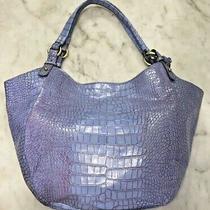 Brahmin Jacqueline Rare Purple Croc Embossed Hobo Tote Bag  Eucnr  Photo
