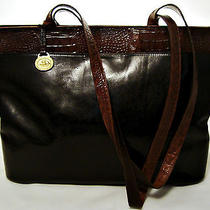 Brahmin Large Black & Brown Croc Embossed Leather Tote Photo