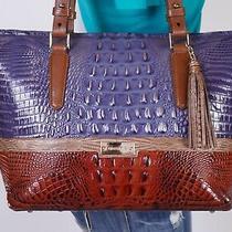 Brahmin Lrg Blue Brown Gold Crocco Leather Shoulder Hobo Tote Satchel Purse Bag Photo