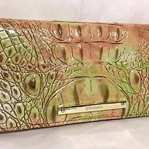 Brahmin Melbourne Ady Slim Bifold Wallet Clutch Atlas Green Blush Pink Tan Nwt Photo