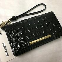 Brahmin Melbourne Debra Bifold Wallet Wristlet Clutch Croc Leather Black Nwt Photo