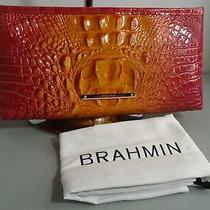 Brahmin Melbourne Kayla L Leather Wristlet Clutch Passion Fruit Orange Pink Read Photo