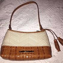 Brahmin Mini Anytime Croc Embossed Leather and Raffia Handbag- Ivory & Luggage Photo