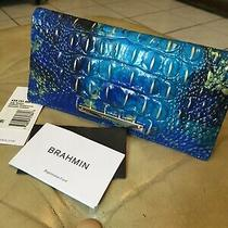 Brahmin New With Tags Wallet Phthalo Melbourne Ady Croc Blue Gold Leather  Photo