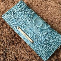 Brahmin Nwot Ady Wallet Astral Iridescent Aqua Blue Croc Leather Melbourne  Photo