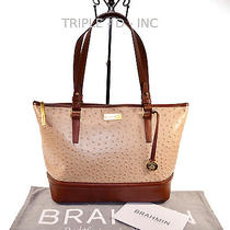 Brahmin Nwt Med Asher Rose Gold Bennington  Ostrich Emb Leather Tote L15733rg Photo