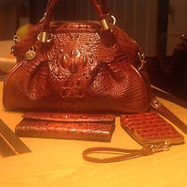 Brahmin Pecan Brown Leather Croc Satchel With Wallet and Cell Phone Case. Photo