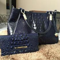 Brahmin Ruby Satchel & Wallet Set Melbourne Handbag Ink Navy Blue Croc Leather Photo