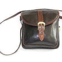 Brahmin Tuscan Brown Croc Embossed & Smooth Black Leather Shoulder Bag 10