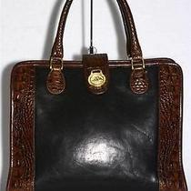 Brahmin Tuscan Medium Satchel Bag Black & Brown Croc-Stamped Leather Photo