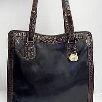 Brahmin Tuscan Melbourne Black Brown Croc Leather Vertical Totel Bag Photo