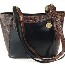 Brahmin Tuscan Tote Lotte Shoulder Bag Leather Purse Croc Embossed Black Brown Photo