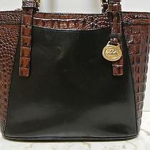 Brahmin Tuscan Tote Shoulder Bag Black Leather Brown Croc Mint Condition Photo