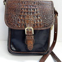 Brahmin Usa Black Brown Tuscan Croc Leather Crossbody Bag Photo