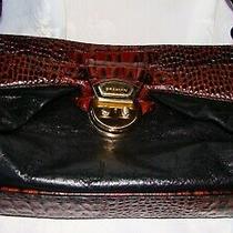 Brahmin Vintage Brown Black Leather Croc Shoulder Bag 13