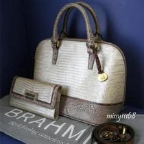 Brahmin Vivian Mother of Pearl Tri-Texture Satchel & Soft Checkbook Wallet Set Photo