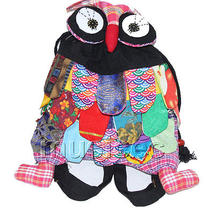 Brand-New 23x33cm Black Chinese Handmade Flax Owl Bag Purse T609a28 Photo