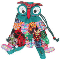 Brand-New 23x33cm Green Chinese Handmade Flax Owl Bag Purse T610a28 Photo