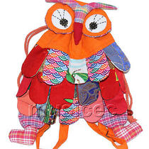 Brand-New 23x33cm Orange Chinese Handmade Flax Owl Bag Purse T615a28 Photo