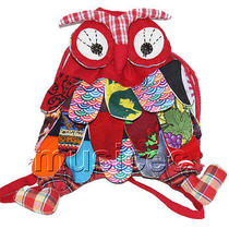 Brand-New 23x33cm Red Chinese Handmade Flax Owl Bag Purse T613a28 Photo