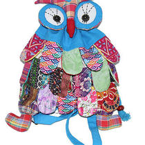Brand-New 23x33cm Sky Blue Chinese Handmade Flax Owl Bag Purse T614a28 Photo