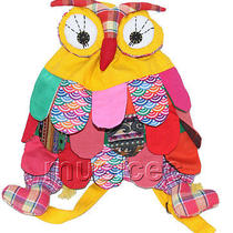Brand-New 23x33cm Yellow Chinese Handmade Flax Owl Bag Purse T611a28 Photo