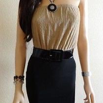 Brand New 2b Bebe Black/beige Giselle Dress Sz. S Photo