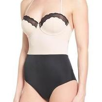 Brand New 80 Topshop Retro Scallop Trim One Piece Swimsuit Black/blush Size 6 Photo