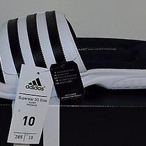 Brand New Adidas Sandals Flip Flop Superstar 3g Slide Black/ White Men Size 10 Photo