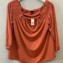 Brand New Ann Taylor Women's Blouse Red Size Large W/ Bag Made in Vietnam Photo