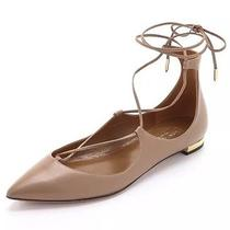 Brand New Auth Aquazurra Christy Flats in Nude Size 36 Photo