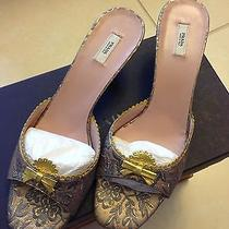 Brand New Authentic Gold/dark Grey  Prada Sandals Size 40 / 9.5 Photo