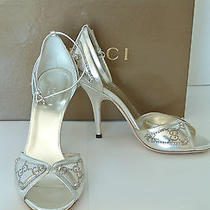 Brand New Authentic Gucci Guccissima Sandals in Silver Leather  Size 7 Photo
