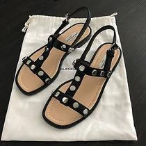 Brand New Balenciaga Black Leather Studded Sandal Sz 37.5 Photo