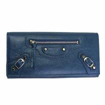 Brand New Balenciaga Blue Leather Bifold Long Wallet 253038 Photo