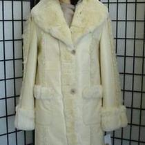 Brand New Beige Leather Lamb Rex Rabbit Fur Coat Women Photo